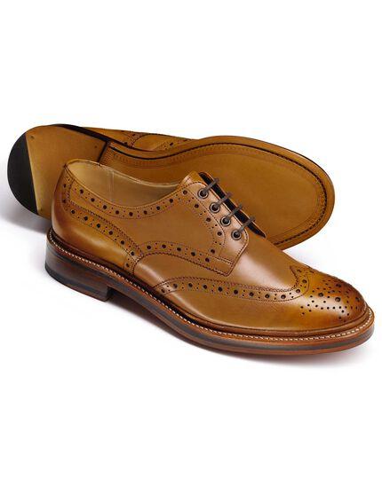 Tan Fenton wingtip brogue Derby shoes