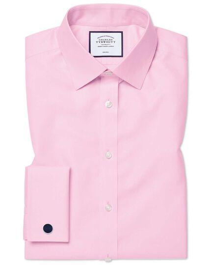 Slim fit non-iron twill pink shirt