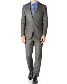 Grey check classic fit twill business suit