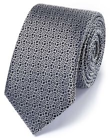 Slim navy and silver silk classic circle tie