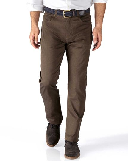 Camel slim fit 5 pocket textured dobby pants