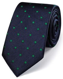 Navy and green silk classic spot tie