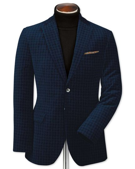 Slim fit navy geometric velvet jacket