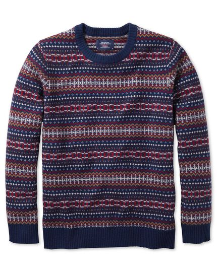 Navy multi fairisle crew neck jumper