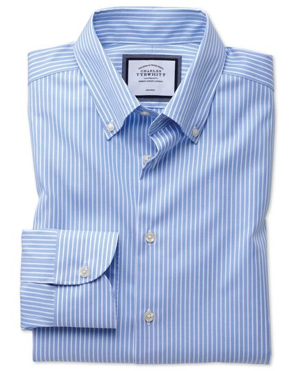 Classic fit button-down collar non-iron business casual sky blue and white striped shirt