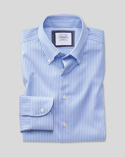 Slim fit button-down collar non-iron business casual sky blue and white striped shirt