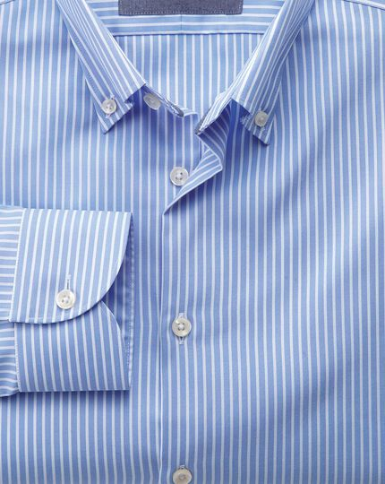 Slim fit business casual non iron button-down stripe sky and white shirt