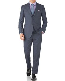 Light blue classic fit sharkskin travel suit