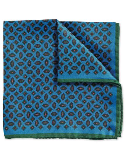 Blue green luxury English printed geometric pocket square
