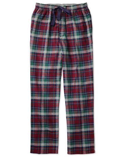 Burgundy check cotton pajama pants
