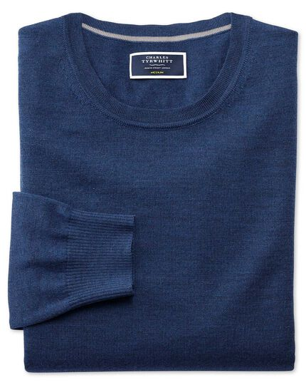 Mid blue merino wool crew neck sweater