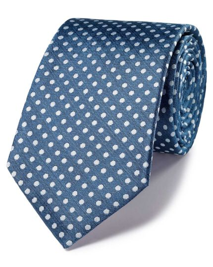 Sky and white silk classic Oxford spot tie