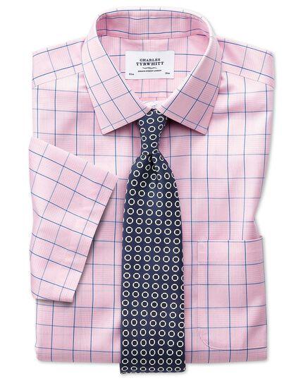 Bügelfreies Slim Fit Kurzarmhemd in Rosa mit Prince-of-Wales-Karos