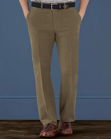 Mushroom classic fit moleskin trousers
