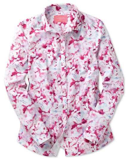 Women's semi-fitted cotton poplin pink multi watercolor shirt