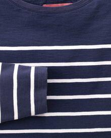 Women's navy and white breton stripe boat neck cotton jersey top