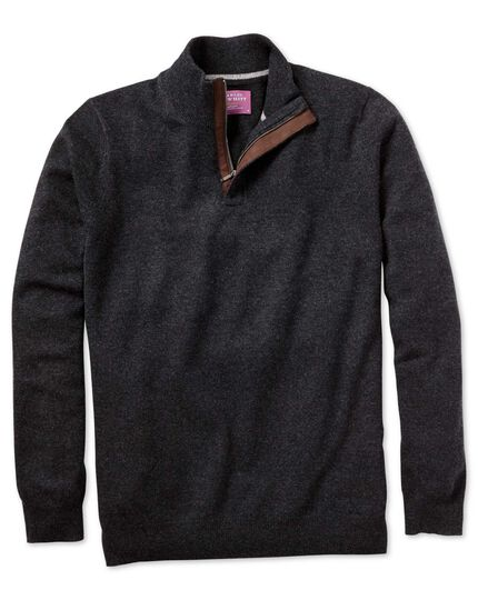 Charcoal cashmere zip neck jumper