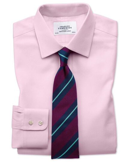Slim fit Egyptian cotton cavalry twill light pink shirt