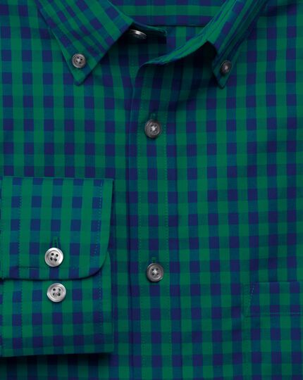Slim fit non-iron poplin green and navy gingham shirt