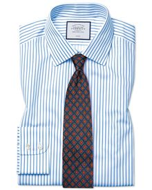 Slim fit non-iron twill stripe white and sky blue shirt