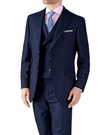 Navy classic fit British Panama luxury suit jacket