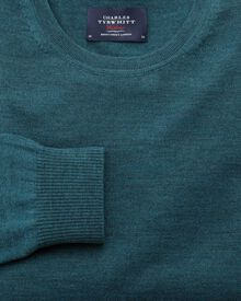 Teal merino crew neck jumper