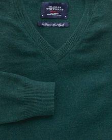 Mid green cotton cashmere v-neck jumper