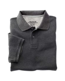 Slim fit charcoal pique polo shirt