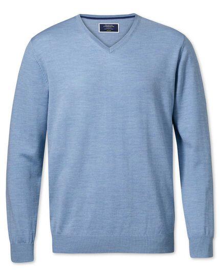 Sky merino wool v-neck sweater