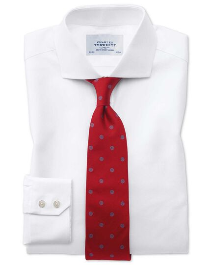 Extra slim fit cutaway collar Egyptian cotton cavalry twill white shirt