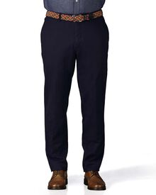 Marine blue extra slim fit flat front chinos
