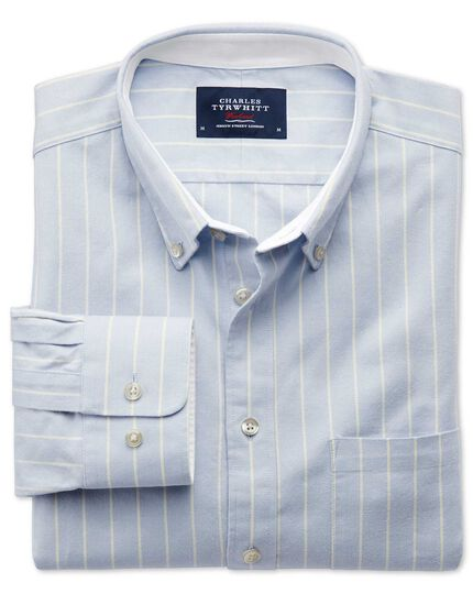 Classic fit sky blue stripe washed Oxford shirt