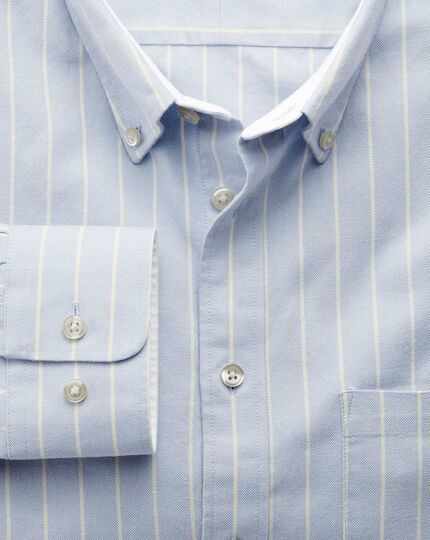 Slim fit sky blue stripe washed Oxford shirt