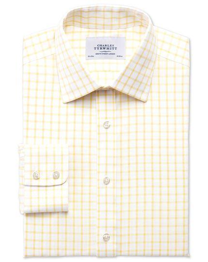 Bügelfreies Slim Fit Twill-Hemd in hellgelb mit Gitterkaro