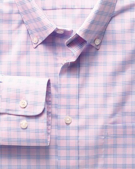Slim fit non-iron poplin pink and sky blue check shirt