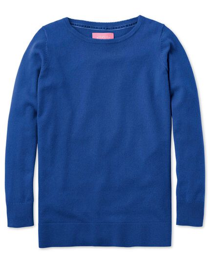 Royal blue merino cashmere long line sweater