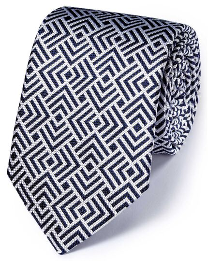 White and navy silk English luxury end-on-end tie