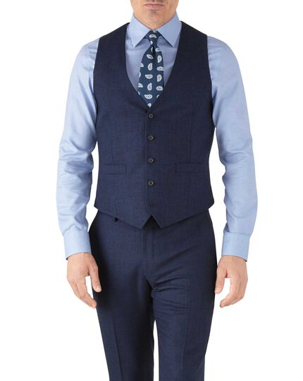 Royal blue adjustable fit flannel business suit waistcoat