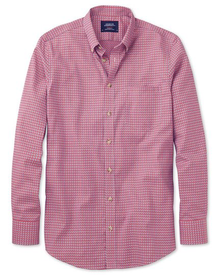 Extra slim fit non-iron poplin coral and navy check shirt