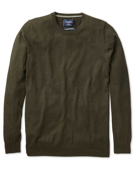 Forest green cotton cashmere crew neck sweater