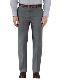 Grey slim fit flat front non-iron chinos