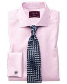 Extra slim fit semi-spread collar non-iron luxury hairline stripe pink shirt