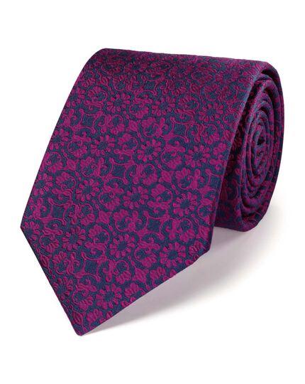 Pink silk luxury floral tie