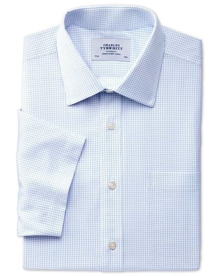 Slim fit non-iron grid check short sleeve sky blue shirt
