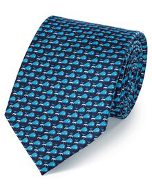Navy and blue silk classic printed whale tie