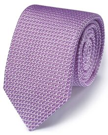 Lilac silk Italian luxury plain grenadine tie