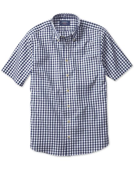 Slim fit non-iron poplin short sleeve navy check shirt
