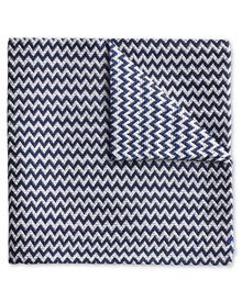 Dark navy end-on-end zig-zag English luxury pocket square
