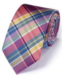 Slim multi silk classic tartan check tie