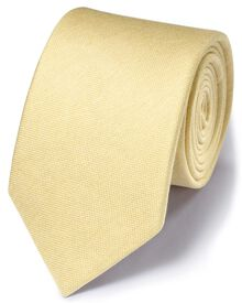 Light yellow silk mix classic plain tie